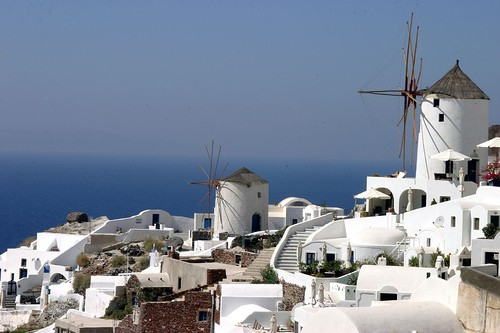 Santorin dans les Cyclades en Grèce